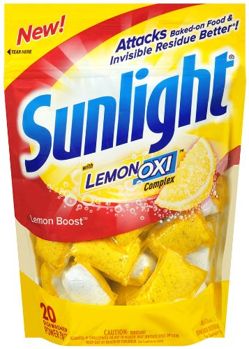 Sunlight Auto Dish Power Pacs with Lemon Oxi, Lemon Boost, 20 Count (Dishwasher Boost compare prices)