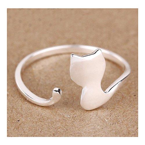 S&E Donne argento simpatico gatto Anelli aperti regolabile anello di barretta filigrana Knuckle