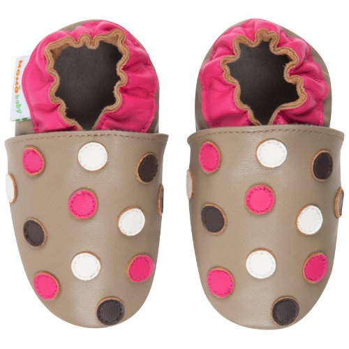 Momo Baby Infant/Toddler Polka Dots Taupe Soft Sole Leather Shoes - 18-24 Months/6-7 M Us Toddler front-941544