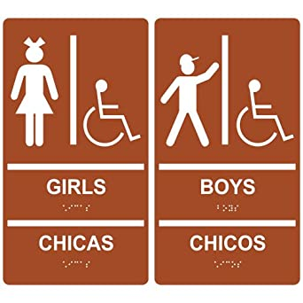 ComplianceSigns ADA Acrylic Tactile + Braille Girls / Boys