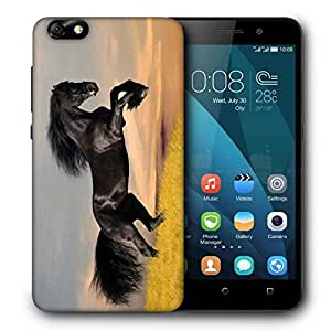 Snoogg Jumping Black Horse Printed Protective Phone Back Case Cover For Huawei Honor 4X