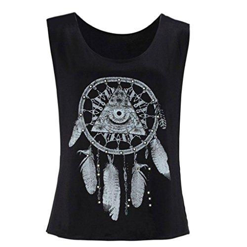 EKIMI Sexy Women Dreamcatcher Printed Sleeveless Tops Crop Tank Vest Shirt Tee (M)