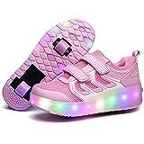 LED Light Up Single/Double Wheel Roller Skate Shoes for Boys Girls Kid(Pink 2 wheel 34 M EU/3 M US Little Kid)