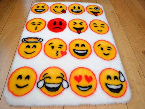 Kids Faux Fur Sheepskin Multi Emoji Rug  Under Brand
