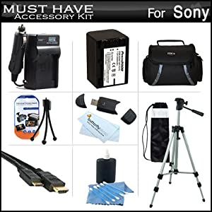 Must Have Accessory Kit For Sony HDR-PJ260V, HDR-PJ200 HD Handycam Camcorder with Projector Includes Replacement (2300Mah) NP-FV70 Battery + Ac / DC Charger + Deluxe Case + Tripod + Mini HDMI Cable + USB 2.0 SD Reader + Much More
