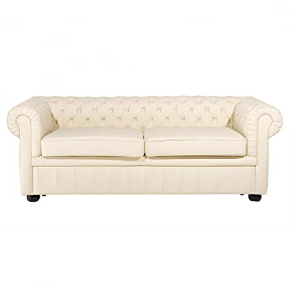 Canapé 2 - 3 places - canapé en cuir beige - sofa Chesterfield