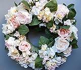 LANDHAUSKRANZ DEKOKRANZ TÜRKRANZ mit Rosen und Hortensien ca. 40 cm schönes Geburtstagsgeschenk für Frauen