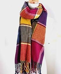 Ebuyingcity Multi-color Checked Scarf Elegant Charming Beautiful Acrylic Fibers Scarf Velvet Wrap Women Lady Girl Shawl