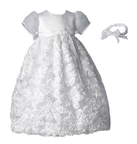 Lauren Madison baby girl Christening Baptism Newborn Floral Design Long Gown, White, 0-3 Months  Review