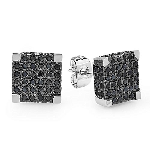 Platinum Plated With Black Cz Cubic Zirconia Cube Shaped Hip Hop Mens 10 Mm Iced Cube Stud Earrings