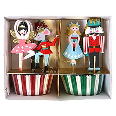 Meri Meri Nutcracker Cupcake Kit 45-2357, Set includes 24 Cupcake Cases and 24 Toppers