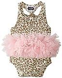 Mud Pie Baby-Girls Newborn Leopard Tutu Crawler, Pink, 9-12 Months