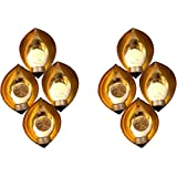 Inspiration World Wall Scone Iron 8 - Cup Tealight Holder Set (Brown, Gold, Pack Of 2)