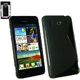 Emartbuy® Huawei Ascend G510 Wave Pattern Gel Skin Cover Black