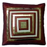 Fashion Home Poly Dupion With PU Square Design Embellishment Premium Cushion Cover Set Of 5
