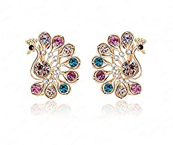 Colorful Austrian Crystal Peacock design Jewelry Studs Pretty Earrings for Women By Shringaar Shop