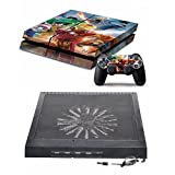 P4COOLER PS4 Horizontal Stand External Cooler + Decal Skin Sticker for Sony PS4 Cooling Fan Chill Mat with 4 ports USB Hub For PlayStation 4 LEGO Marvel Super Heroes Decal