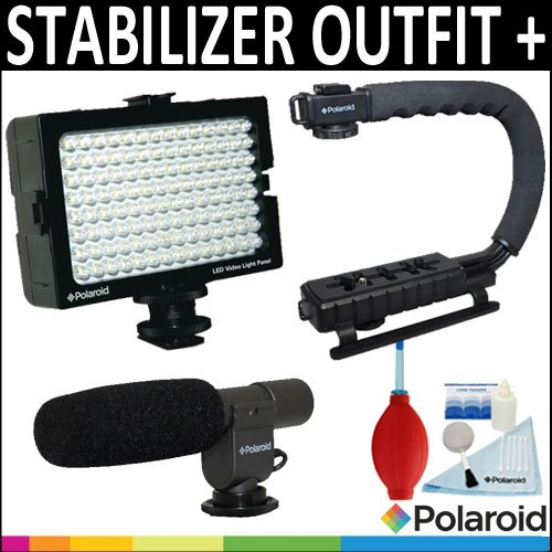Polaroid Sure-Grip Professional Action Stabilizing Handle Mount + Polaroid Pro Video Condenser Shotgun Microphone + Polaroid 112 Led Video Light Panel + Accessory Kitfor The Sony Nex-Vg10, Nex-Vg20, Hdr-Nx5U Handyman Camcorder