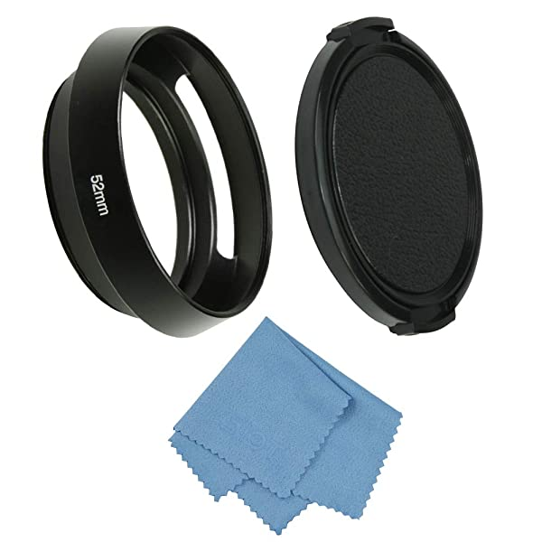 SIOTI Camera Standard Hollow Vented Metal Lens Hood with Cleaning Cloth and Lens Cap Compatible with Leica/Fuji/Nikon/Canon/Samsung Standard Thread Lens (Color: Standard Vented, Tamaño: 52mm)