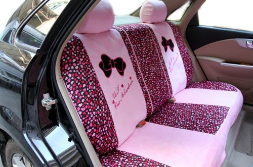 EMS Shipping Cute Bowknot Pattern Auto Car Seat Cover Accessories Set (Model: Zj000180) (Pink)
