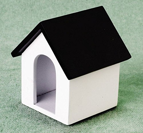Dollhouse Miniature White Dog House w/Black Roof (Miniature Dog House compare prices)