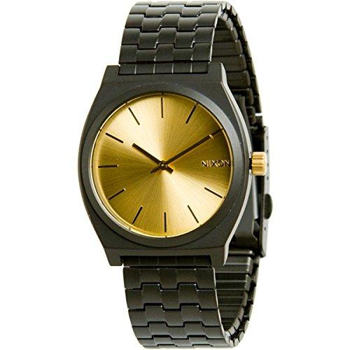 nixon-time-teller-watch-mens-matte-black-gold-accent-one-size