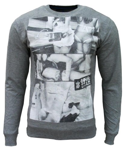Soul Star Men's Candice Fashion Casual Lightweight Sweatshirt Top grey Small