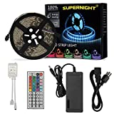 SUPERNIGHT(TM) 16.4 Ft 5050 Waterproof 300leds Adhesive Light Strip,RGB Color Changing Kit with LED Flexible Strip and 44 Key Remote Control and 12V DC 5A Power Supply