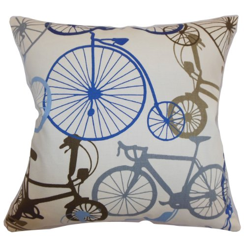 The Pillow Collection Echuca Bicycles Pillow, Blue Brown