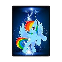 Sysuser Cartoon My Little Pony Cute Rainbow Dash Custom Blanket 58x80 Inch Creative Cotton Blanket Indoor / Outdoor Blanket