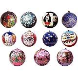 Christmas Decorations Paper Mache Ornaments Hanging Balls Diameter: 2.5 inches ~ ShalinIndia