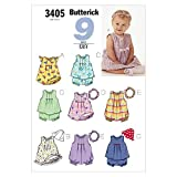 INFANTS DRESS, TOP, ROMPER, PANTIES, HAT & HEADBAND SIZES NB-S-M (7-21 LBS.) 9 SEW EASY BUTTERICK PATTERN 3405