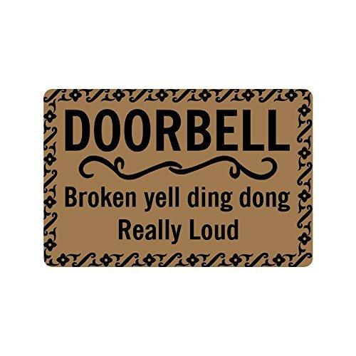 """Vicky.Zheng Custom Indoor Outdoor Door Mat - Doorbell Broken Yell Ding Dong Designed Bath and Home Decorative Doormat 18"""" X 30"""""""