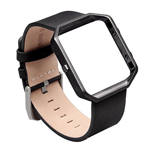 V-MORO Cinturino per Fitbit Blaze, pelle morbida, cinturino in vera pelle con polsino apribile e regolabile e scocca in metallo per Fitbit Blaze Smart Fitness Watch (Pelle nero&Cornice metallica nero, Grande)