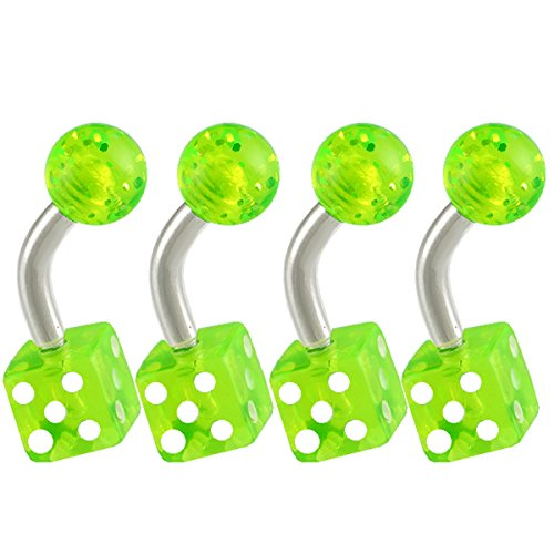 """14G 14 Gauge (1.6Mm), 1/4"""" Inches (6Mm) Long - 316L Surgical Stainless Steel Eyebrow Lip Bars Ear Tragus Rings Earrings Curved Curve Barbell Straight Bar Acrylic Dice Green Lot Aijo - Pierced Body Piercing Jewelry- Set Of 4"""