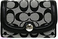 Coach Hampton Signature Compact Clutch Wallet Bag F45009 Black and White