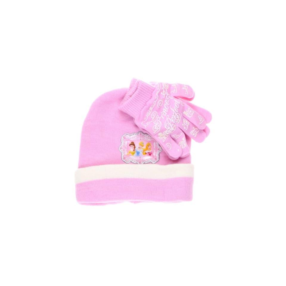 Disneys Princess Belle, Cinderella, and Aurora Knitted Beanie Ski Hat and Gloves Winter Set for Kids, Age 3 6