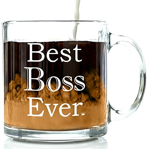 Best Boss Ever Glass Coffee Mug 13 oz - Work and Office Christmas ...