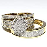 His and Her Bridal Rings Set Trio 0.73ct 10K Yellow Gold Halo Style Wedding Ring + Mens Wide Wedding Band