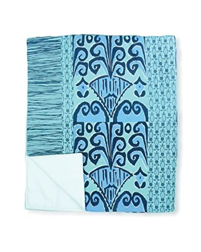 Jacque Pierro Zaire Ikat Throw, Turquoise/Light Blue/Navy Blue/White