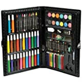 Kids Deluxe Art Set Includes Fiber Pens, Colored Pencils, Oil Pastels, Paint Tablets, Paper Clips, Scissors, Glue, a Sharpener, an Eraser, and More (101 Pieces)