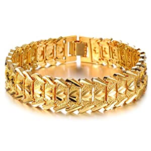 Opk Jewellry Fashion 18K Gold Plated Men's bracelet Cool Chain Link Crown Wristband Wedding Gift Never Fade by OPK