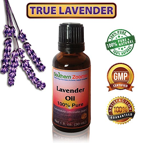 True Lavender - 1 Oz Bottle Of 100% Pure Lavandula Officinalis. Free Online Guide Of The Uses And Benefits. Our Lovely Undiluted, Natural Essential Therapy Oil Can Be Used For Aromatherapy, Air Freshner, Acne, Dogs, Fleas, Hair, Burns, Face, Moths, Nails,