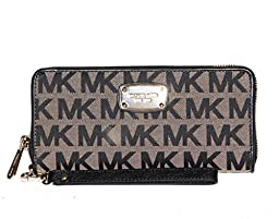Michael Kors Jet Set Item Travel Signature Jacquard Continental Wallet Beige/black/black
