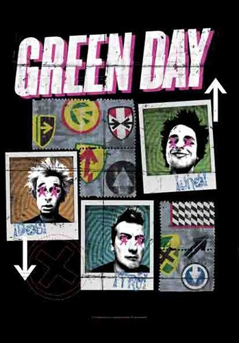 Green Day uno Dos Tres ufficiale collage poster in tessuto, Bandiera