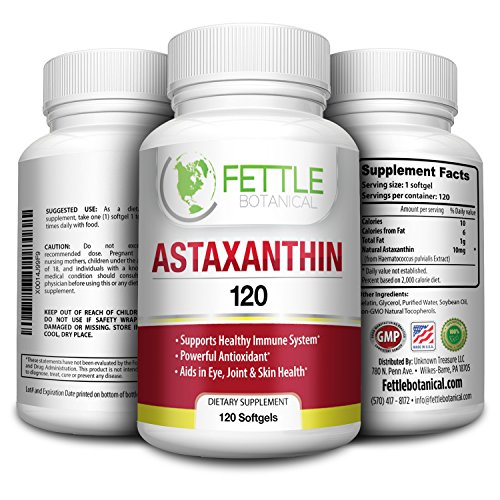 Astaxanthin 120 Softgels 10mg Supplement Strong Carotenoid Antioxidant Helps Optimal Immune Response Skin Health Reduced Eye Fatigue and Joint Pain by Fettle Botanical (Haematococcus Pluvialis Extract compare prices)