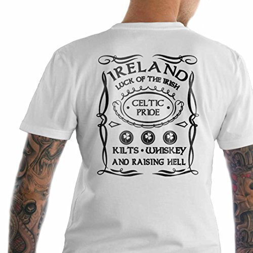 Ireland. Kilts Whiskey and Raising Hell. Kilt T-Shirt Made in USA T-Shirt.