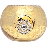 Luna Bazaar Vintage Mercury Glass Glass Candle Holder (2.5 Inch, Star Motif, Gold) For Use With Tea Lights For...
