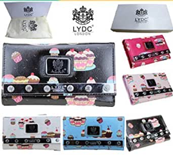 LYDC London Ladies Woman New Style Oilcloth Cup Cakes Purse Zip Ladies Wallet Evening Bag Hand Bags Boxed (Rose)