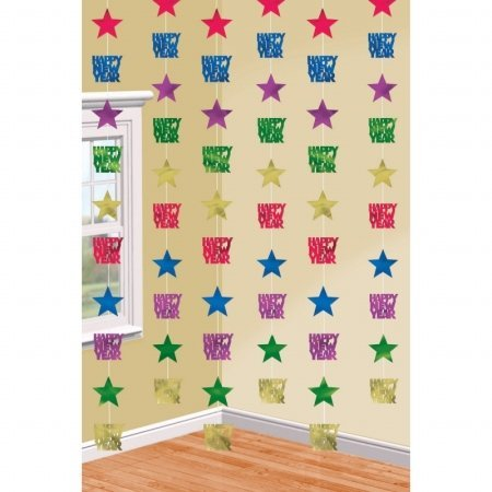 Amscan - New Years Jewel Tones Hanging Star Swirl Decorations - Multi-colored